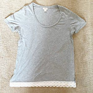 J Crew factory scoop neck short sleeve gray top